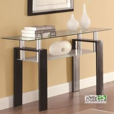 Contemporary Black Tempered Glass Sofa Table