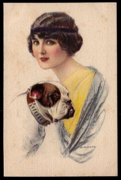 ART DECO LADY with BULLDOG Artist signed BIANCHI 1915s Old Postcard