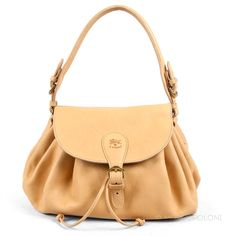 3878b1c9fa05 CURLY - Il Bisonte Womans Pleated Shoulder Bag in Cowhide Leather