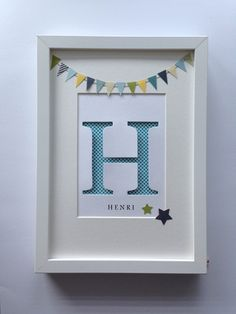 Monogram name picture -large- - Home Page Box Frame Art, Box Frames, Diy Baby Gifts, Baby Crafts, Scrabble Letter Crafts, Baby Motiv, Diy Shadow Box, Baby Frame, Personalised Frames