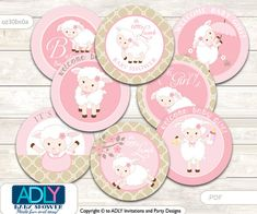 Little Girl Lamb Cupcake Toppers for Baby by aoprintablesforkids