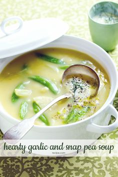 This springtime meal starter is a healthy vegetable soup full of sweet sugar snap peas and gently flavored fennel.