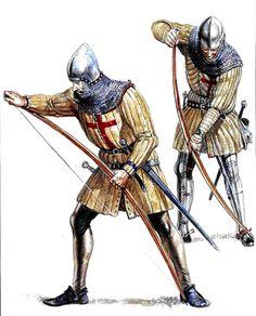 El uso del arco se empleo profusamente en las cruzadas. Esta arma se basa en el sencillo concepto de usar un bastón con cierta elasticidad, para que al blincarlo mediante el uso de una cuerda atada a cada extremo impulse una flecha hacia el objetivo.