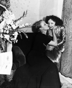 Marlene Dietrich and Edith Piaf backstage after a concert in NYC. Description from pinterest.com. I searched for this on bing.com/images