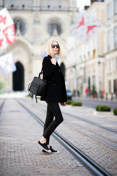 Black Andiata blazer and leather pants