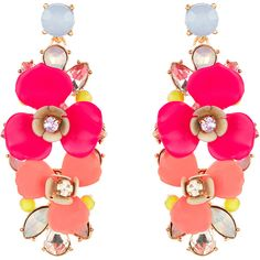 Accessorize Ellie Statement Flower Earrings ($29) ❤ liked on Polyvore featuring jewelry, earrings, earrings jewelry, floral earrings, flower jewellery, blossom jewelry and floral jewelry