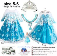 Princess-Elsa-Frozen-movie-Costume-Fancy-Dress-Disney-Store-girl-size-age-4-5-6