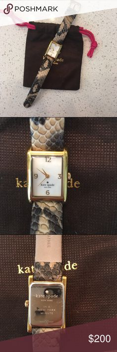Kate Spade Leather Watch Great watch from Kate Spade. In excellent condition. Now noticeable flaws when worn. I got this watch a little over a year ago and completely forgot about it, so the batteries need to be replaced 😂 100% leather, snakeskin pattern kate spade Accessories Watches