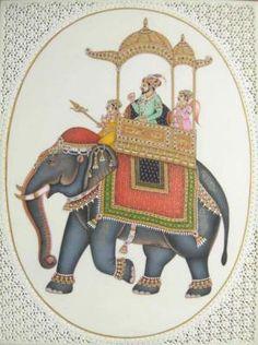 Royal Mughal Entourage Mughal Miniature Paintings, Mughal Paintings, Indian Paintings, War Elephant, Indian Elephant, Royal Animals, Indian Decoration, Mughal Architecture, Elephant Illustration
