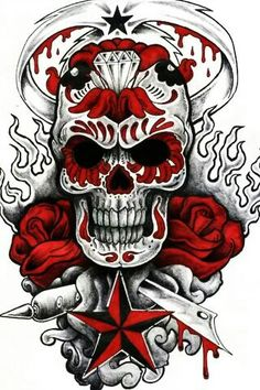 Creepy sugar skull tat Intense black and white sugar skull tattoo design with red roses, flames, stars, a diamond and a sword in the background. Tattoo Outline Drawing, Outline Drawings, Sugar Skull Tattoos, Sugar Skull Art, Sugar Skulls, Arte Punk, Badass Skulls, Totenkopf Tattoos, Skull Pictures
