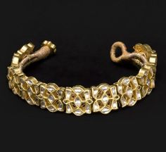India | Bracelet; gold with gemstones | 1810 - 1915.  Former kingdom of Nabha, Punjab state | ©Asian Art Museum, San Francisco
