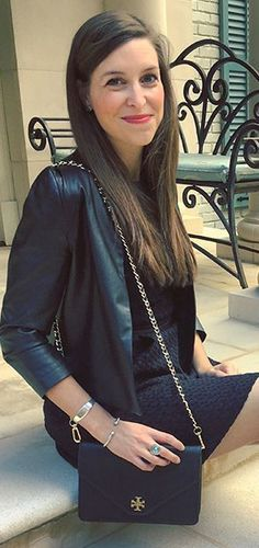 Winter Dressed Up look - Tweed fit and flare dress with Tory Burch bag and leather jacket