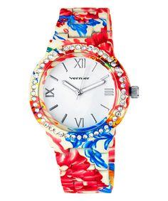Look what I found on #zulily! Red & Blue Floral Bracelet Watch by Vernier #zulilyfinds