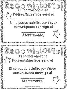 Parent Teacher Conference Reminder Forms FREEBIE Bits of First ...