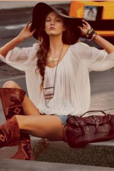 Peasant blouse ~FreePeople.com  Love the hat and bag, too!
