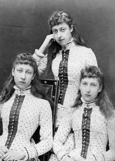 Princess Victoria, Princess Louise and Princess Maud of Wales. Daughters of Edward VII. Maud became queen of Norway. Louise was the Princess Royal and married the Earl of Fife. Victoria never married.