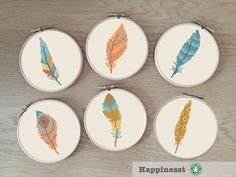 Modern cross stitch pattern feather. Set of 6. The pattern comes as a PDF file that youll will be able to download immediately after purchase. In addition the PDF files are available in you Etsy account, under My Account and then Purchase after payment has been cleared. You get a pattern in colorblocks and symbols, a pattern in black and white symbols, and a list of the floss colors youll need. You also get an PDF file with cross stitch instructions. PATTERN INFORMATION Embroidery hoop: 4…
