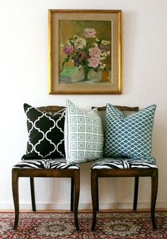 pretty cushions in black, aqua and grey turquoise from #ELCESTOCKOLM