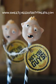 Goonies.  Sloth Cake Pops.i saw that movie!-probably wont make theese but funny!! @Laura Jayson Takagi  --- we are having a Goonies 40th birthday party for Ryan this year!!