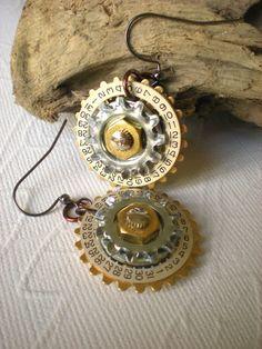 Steampunk Earrings  Steampunk Flowers  by MaddDoggofTomorrow, $18.00
