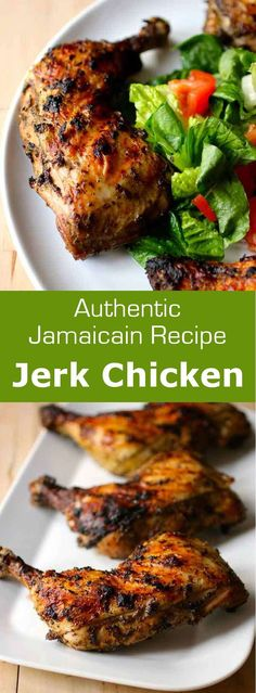 Jerk chicken is a traditional Jamaican recipe which consists in chicken marinated in a spicy blend for a few hours and then grilled … Jerk Chicken Breast Recipe, Jerk Chicken Recipe Grill, Jerk Chicken Marinade, Grilled Jerk Chicken, Jerk Recipe, Chicken Leg Recipes, Cabbage Recipes, Jerk Chicken Wings, Chicken Marinate