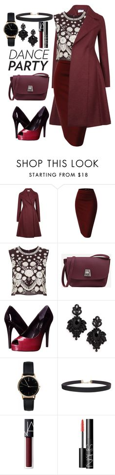 """""""Party"""" by kimir-and on Polyvore featuring Harris Wharf London, Needle & Thread, GUESS, Tasha, Freedom To Exist, Humble Chic, NARS Cosmetics, red and danceparty"""