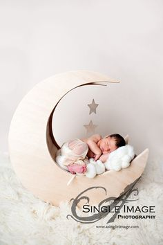 Newborn wooden crescent moon prop by LilaPhotographyProps on Etsy, $125.00