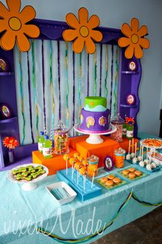 fiesta theme Dessert table at a Scooby Doo Party Orange Party, 60s Party, Party Time, Scooby Doo Halloween, Halloween 2019, 6th Birthday Parties, 4th Birthday, Scooby Doo Birthday Cake, Scooby Doo Cake