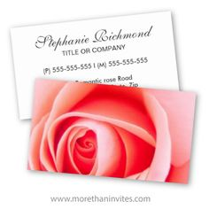Pink rose business card. Great for a wedding planner or a florist.