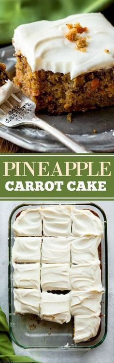 The best carrot cake recipe is this pineapple carrot cake with cream cheese frosting! Moist, spiced and so easy!
