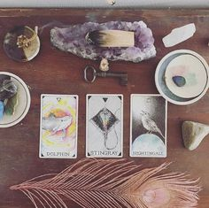 the wild unknown animal spirit three card spread + amethyst + palo santo | image via @ravenna_soley