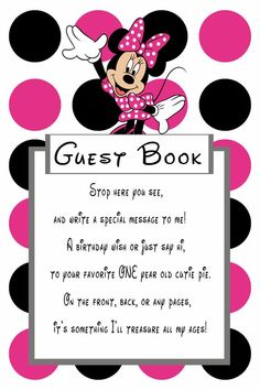 Minnie Mouse Pink Birthday Guest Book Sign for 1 year old girl Minnie Mouse Birthday Decorations, Minnie Mouse Theme Party, Minnie Mouse First Birthday, Mickey Mouse Clubhouse Birthday Party, Mickey Mouse Birthday, Mickey Minnie Mouse, 3rd Birthday Party For Girls, Birthday Signs, Birthday Book