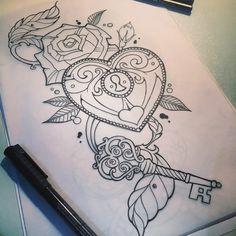 Heart locket tattoo design by me Girly Tattoos, Trendy Tattoos, Cute Tattoos, Beautiful Tattoos, Body Art Tattoos, Tattoo Drawings, New Tattoos, Tattoos For Women, Heart Tattoos