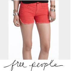 Free People Red Corduroy Dolphin Hem Shorts Free People Red Corduroy Dolphin Hem Shorts. Color per Free People website is red (grenadine), but is more of a lighter neon red. Please don't buy and say that color isn't as described- I'm listing this per the coloring of the Free People website. Hem comes up on sides, cut off. Size is 26, which is a 2. Excellent condition. Feel free to make an offer. 98% cotton, 2% spandex. Free People Shorts