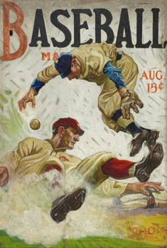 MAGAZINE: Baseball Magazine cover art, Art by Benton Henderson Clark. The magazine was founded by Boston sportswriter Jake Morse in Baseball Signs, Baseball Posters, Baseball Art, Sports Baseball, Sports Art, Baseball Stuff, Sports Posters, Sports Logos, Baseball Odds