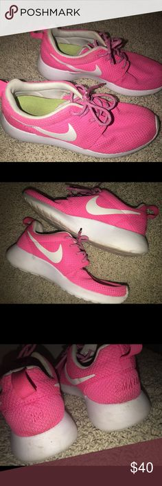 5f0f460ade983 Pink Nike roshes I am in love with these neon pink nike roshes I got them