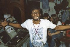 Larry Levan behind the turntables at the Paradise Garage.