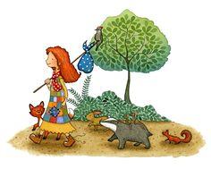 Walking with Friends - Children's Illustration of woodland animals by Emma Allen