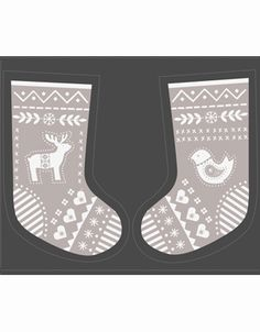 Santas Reindeer Fabric Stocking Grey - Product - 103077b