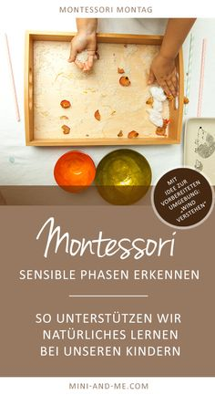 "Sensitive phases according to Montessori: This is how we support child-like learning (""Preparing to understand the wind"" with a prepared environment) - kinder - Baby Activities Maria Montessori, Montessori Trays, Montessori Materials, Montessori Activities, Montessori Baby, Preschool Activities, Activities For Adults, Infant Activities, Family Activities"