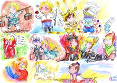 """From left to right :  -Liechtenstein as Mulan (Mulan), -France as Prince Eric (The Little Mermaid), -ChibItalia as Lumière (Beauty and the Beast), -HRE as Genie (Aladdin)... and a Smurf, -Sealand as Tantor (Tarzan), -Iceland as Roger and Belgium as Giselle (Enchanted), -Lithuania as Jafar (Aladdin) -Latvia as Ursula (The Little Mermaid), -Estonia as Pacha (Emperor's New Groove) -!Queensland-kun as Iago (Aladdin), -Hana-Tamago as Zeus (Hercules), -Romano as Aladdin (Aladdin)"""