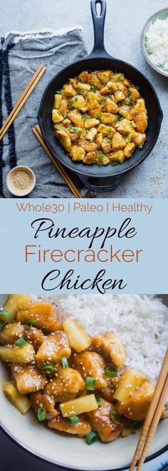 Whole30 Firecracker Pineapple Chicken - This healthy, sweet and spicy chicken is way better than takeout! A gluten free, paleo and whole30 cimpliant dinner that is always a crowd pleaser! | Foodfaithfitness.com | Taylor | Food Faith Fitness - Healthy Gl http://healthyquickly.com/55-healthy-recipes-salads-haters/