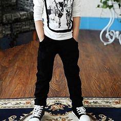 pantalones casuales costura negro y gris del muchacho - USD $ 8.80