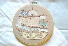 ship embroidery #ship #hoop #mixedmedia
