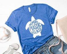 No More Plastic Please – White Turtle – Short-Sleeve Unisex T-Shirt Straws Suck… – Ocean Trash Save The Sea Turtles, Turtle Shirts, Save Our Oceans, Create Awareness, Save The Planet, Lettering Design, Shirt Style, Graphic Tees, Cool Outfits