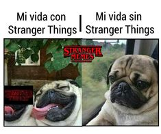 Translation: My life with Stranger things. My life without Stranger things.