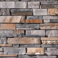 Prestige Dry Stack by Dutch Quality Stone Length: - Stacked Stone Fireplaces, Rock Fireplaces, Fireplace Wall, Fireplace Design, Fireplace Ideas, Stacked Stone Backsplash, Dry Stack Stone, Stone Siding, Brick Siding