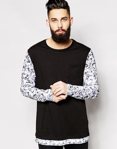 ASOS Longline Long Sleeve T-Shirt With Marble Print Double Layer Effect - Black