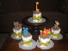 Woodland Mini Diaper Cakes Baby Shower Centerpieces in pink and other colors and sizes too