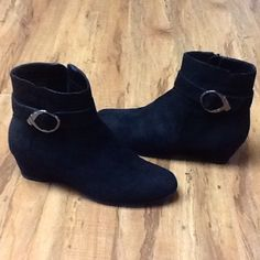 Black Suade-like Short Boots Cute black suade-like booties. Size 8 M .  Only have been tried on and Never worn outside. Perfect condition.  Inside zippers and super cute silver embellishment at the top. Impo Shoes Ankle Boots & Booties